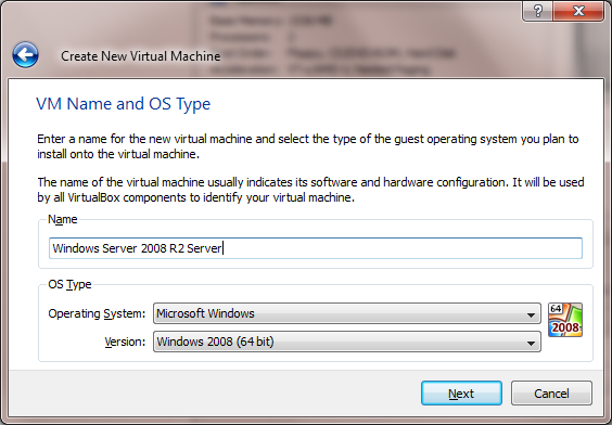 VB Virtual Machine Name and OS Type Screen Capture