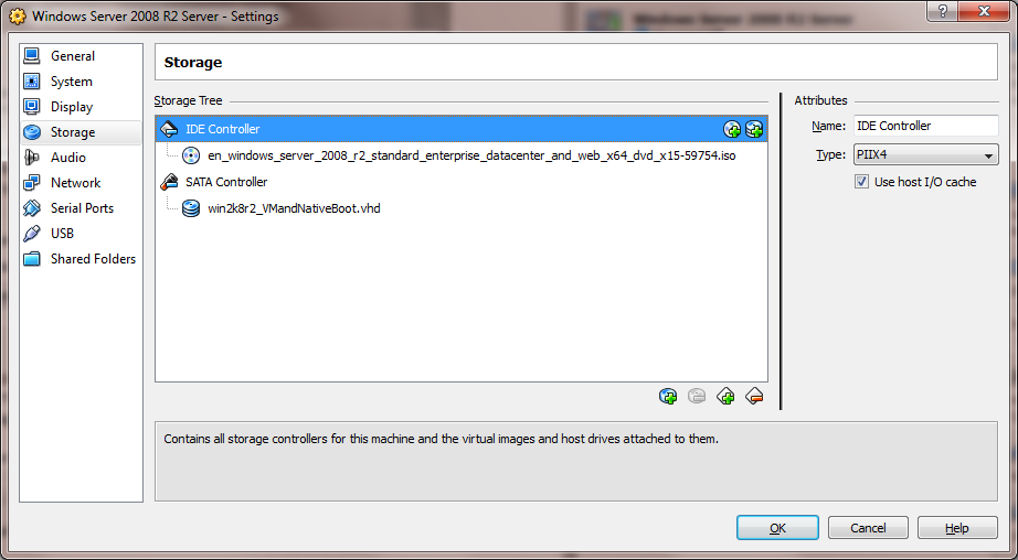VirtualBox Storage Settings Screen Capture