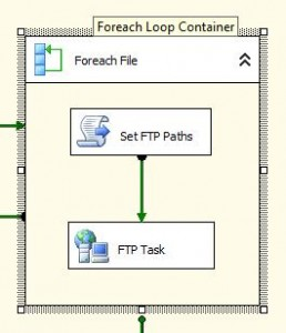 "The ""Set FTP Paths"" Script Task sets path variables that the FTP Task uses."