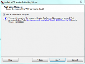 WCF publish Screen with Service Bus endpoing