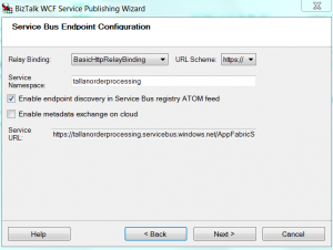 WCF publish Screen with Service Bus endpoint Binding