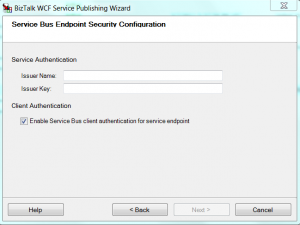 WCF publish Screen with Service Bus endpoint security