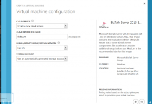 Azure cloud service, dns name, region, and storage account