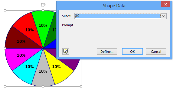 Add Over 10 Slices To A Visio Pie Chart And Bind Thickness To