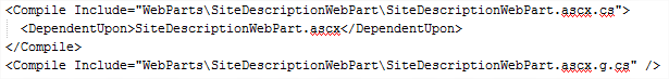 csproj File - Disassociated Web Part