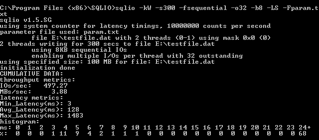 Sequential Write With 1 Disk