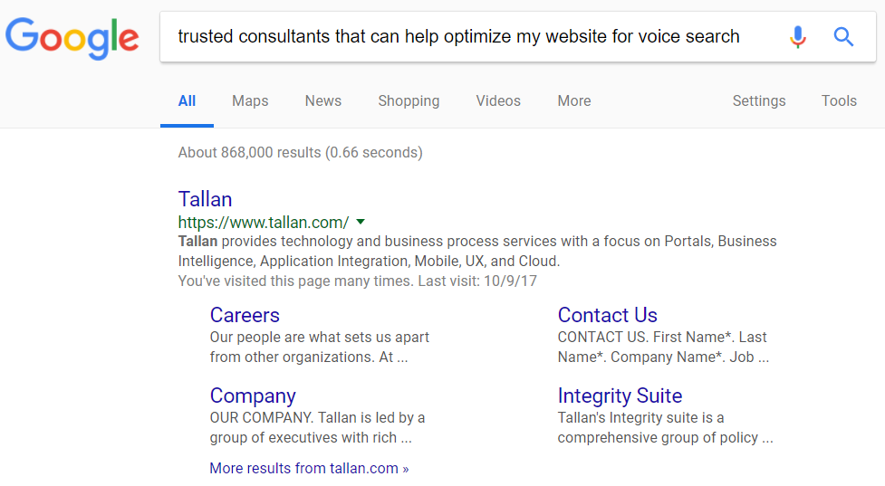 Google Voice Search Results