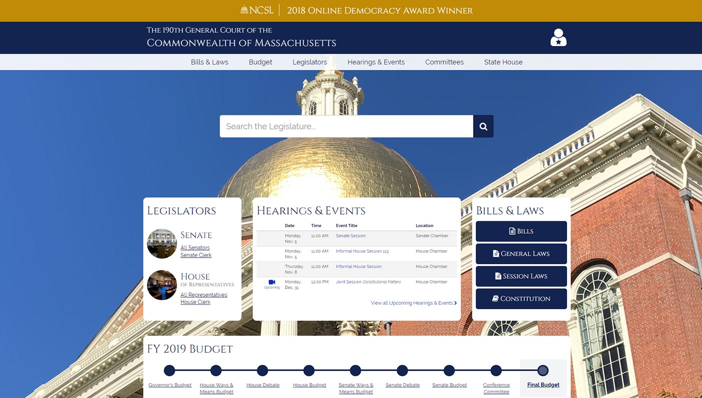 Mass Website w NCSL Award Banner