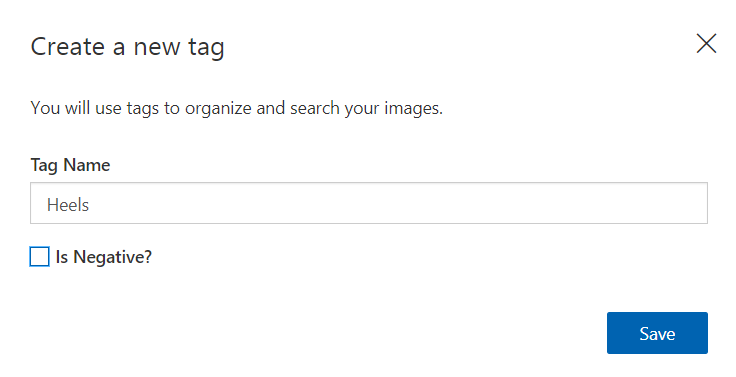 Figure 2. This window will appear when you click to add a new tag. Add the tag name here and click Save.