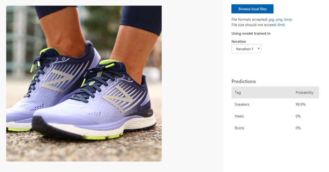 Figure 10. Test results for sneakers. The model has determined it is 99.9% sure the picture is sneakers.